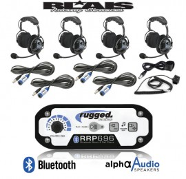 Rugged Radio RRP696 4-Place Intercom with Over the Head Ultimate Headsets